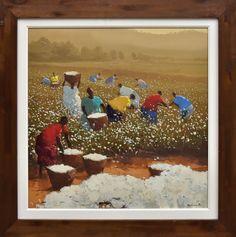 """ROMANELLI, ARMANDO (1945). """"Colheita de Algodão"""", óleo s/ tela, 60 X 60. Assinado no c.i.d."""