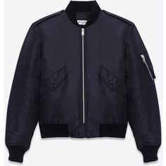 Saint Laurent Classic Bomber Jacket (€1.765) ❤ liked on Polyvore featuring outerwear, jackets, blue bomber jacket, blue jackets, bomber jacket, blouson jacket and nylon flight jacket