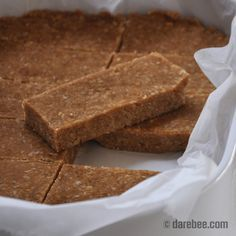 Homemade no-bake breakfast no-powder protein bars - I have tried this recipe and they are lovely! I got 22 bars rather than 16 as recipe suggests. 10g protein per bar. Would be amazing with dark chocolate on ha ha.