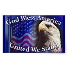 dbc8a67a6f0 GOD BLESS AMERICA UNITED WE STAND RECTANGULAR STICKER