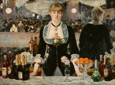 Edouard Manet - Bar at the Folies-Bergeres    군중 속의 고독. 왁자지껄한 바. 그녀는 홀로 정면을 응시하며 정적인 모습을 보인다. 사색 또는 고독. 그녀는 이 공간에서 분명 혼자이다.