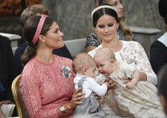 the little princes Oscar and Alexander with their mothers Crown Princess Victoria and Princess Sofia