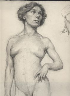 Student nude female drawing from the 1911 class of George Brant Bridgman (1865–1943), a Canadian-American painter, writer, and teacher in the fields of anatomy and figure drawing.