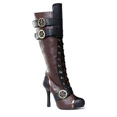 awesome ELLIE Women's Knee High Steampunk Boot Shoes