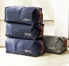 Personalized Groomsmen Gift, Men's Toiletry Bags, Embroidered Monogram, Waxed Cotton Canvas and Leather Dopp Kit, Handmade