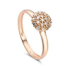 Anel em ouro rosé 18k e 15 pts de diamantes - Coleção Pavê