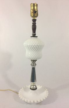 """Vintage White Milkglass Hobnail Lamp 18"""", Shabby Chic, Country Farmhouse by LakesideVintageShop on Etsy"""