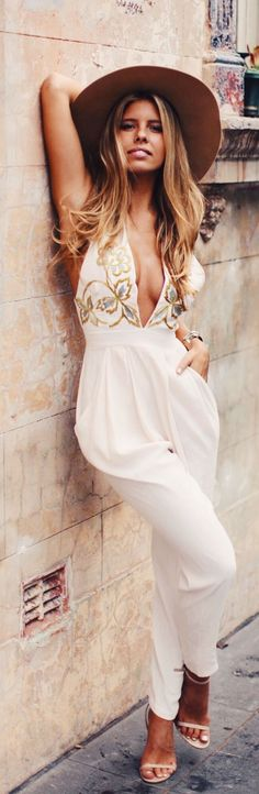 Alice McCall White Floral Print Details Jumpsuit