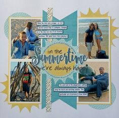 "This is also for the March Music Inspiration challenge. My song was ""In the Summertime"" by Mungo Jerry. This is also for the March Sewing challenge. This is also based on a Scrapbook Generation sketch. Beach Scrapbook Layouts, Scrapbooking Photo, Album Scrapbook, Vacation Scrapbook, Scrapbook Sketches, Scrapbook Paper Crafts, Digital Scrapbooking, Scrapbook Generation, Picture Layouts"