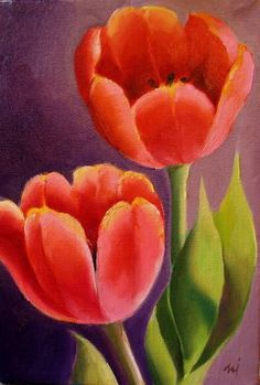 Nel's Everyday Painting: Two Red Tulips Acrylic Flowers, Pastel Flowers, Watercolor Flowers, Simple Acrylic Paintings, Acrylic Painting Canvas, Canvas Art, Tulip Painting, Spring Painting, Art Floral