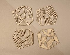 Geometric coasters Modern coaster Laser cut wood coasters