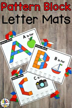 These Capital and Lowercase Pattern Block Letter Mats are a fun, hands-on activity for your tactile learners.  Your preschoolers or kindergartners will practice identify letter and sounds; manipulating the blocks and forming the letters; and writing capital and lowercase letters. This pattern block fine motor activity is perfect for literacy centers, morning tubs, small group instruction, or as an enrichment activity for early finishers. #patternblocklettermats #patternblockalphabetmats