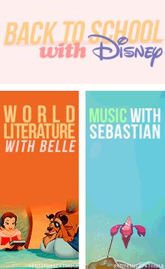 Back to School with Disney. World Literature with Belle. Music with Sebastian