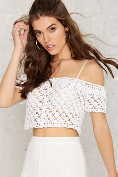 Crochet What's Up Hello Crop Top - Clothes | Festival Shop | Vacation Shop | Cropped | Off The Shoulder | Summer Whites