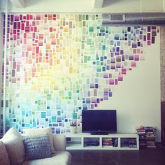 A DIY paint chip wall! | Brighten Up Your Rented Home or Dorm