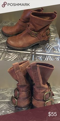 """Lucky Brand slip on buckle booties Brown leather booties, flat heel, buckle detailing as seen in pictures.  8"""" tall to back pull tab.  True to size fit.  Great condition Lucky Brand Shoes Ankle Boots & Booties"""