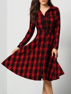 b111513db28 Robe chemisier à carreaux manches longues -rouge noir-French  SheIn(Sheinside) Robe