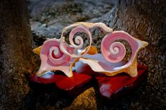 Ocean Waves Conch Shell on Mahogany Base Sculpture