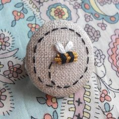 Made to Order Goldwork Bee Hand Embroidered Brooch Badge supporting the BBKA