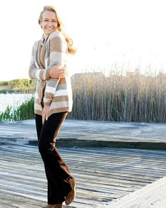Fireside Cardigan; no-iron Perfect Shirt; Natural corduroy boot-cut jeans l #ColdwaterCreek