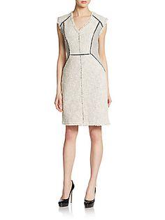 Tweed Zip-Trim Sheath Dress