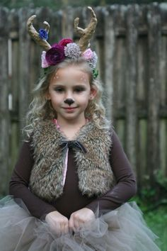 faun child outfit - Google zoeken Girl Deer Costume, Deer Costume For Kids, Bambi Costume, Diy Halloween Costumes For Women, Toddler Costumes, Halloween Kostüm, Diy Costumes, Deer Costume Toddler, Diy Reindeer Costume