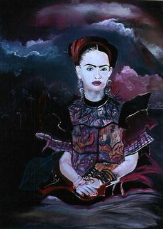 """Frida Under the Volcano. 1995 30"""" x 40"""" Oil on canvas."""