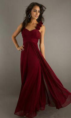 Long Chiffon Bridesmaid Dress, Burgundy red | eBay $65.80