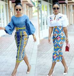 Classy picture collection of Beautiful Ankara Skirt And Blouse Styles These are the most beautiful ankara skirt and blouse trending at the moment. If you must rock anything ankara skirt and blouse styles and design. African Fashion Skirts, African Fashion Designers, African Print Dresses, African Print Fashion, Africa Fashion, African Dress, Skirt Fashion, Ankara Fashion, African Prints