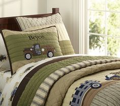 Bryce Trucks Quilted Bedding from Pottery Barn for Kids. Boys Farm Bedroom, Truck Bedroom, Pottery Barn Bedrooms, Pottery Barn Kids, Childrens Beds, Boy Quilts, Quilt Bedding, Bedding Sets, Baby Furniture