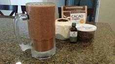 Yummy in my tummy vegan mint chocolate smoothie:  dates, cacao powder, the water and meat from one young coconut, and a few drops of peppermint oil! Enjoy