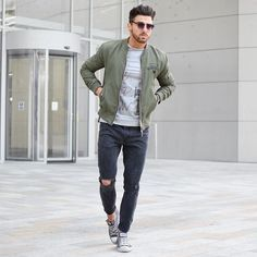 milatary green bomber jacket with ripped denim