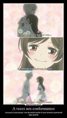 carteles vida amor sentimientos anime manga kamisama hajimemashita tomoe nanami conformarse grande poco desmotivaciones