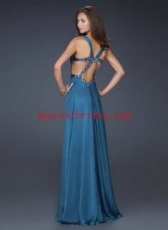 A-line Straps Floor Length Side Split Chiffon Prom Dress with Empire Waistline