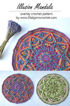 Illusion Mandala - original overlay crochet pattern by www.lillabjorncrochet.com