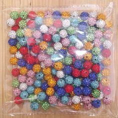 Hot Freeshipping 10mm Mix Color 50 PC CZ Crystal Disco Ball Shamballa Beads   eBay