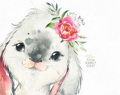 Watercolor little animals clipart, calf, baby goat bunny, country, flowers kid Farm Cow Rabbit Goat. Watercolor little animals clipart calf Watercolor Images, Watercolor Animals, Cute Animal Drawings, Cute Drawings, Images Of Cows, Art Mignon, Baby Goats, Nursery Art, Cute Art