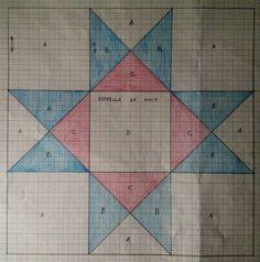 estrella papel miliiimetrado Quilt Square Patterns, Barn Quilt Patterns, Square Quilt, Fabric Patterns, Colchas Quilting, Quilting Designs, Painted Barn Quilts, Patchwork Blanket, Star Quilt Blocks