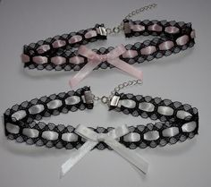 White Heart Choker Black Lace Bow necklace Ribbon Emo Scene Cosplay Goth Cute. 4.50, via Etsy.