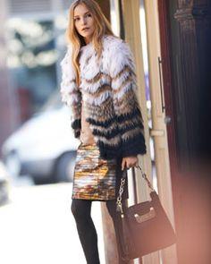 Catherine Malandrino Ombre Raccoon Coat, Long-Sleeve Tee & Leather Skirt