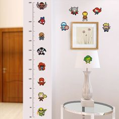 funny doll Iron Man AVENGERS Captain Spiderman cartoon movie hero home decal kids room height measure growth chart wall stickers Baby Room Wall Decor, Nursery Wall Murals, Kids Room Wall Decals, Kids Room Paint, Baby Decor, Baby Nursery Wallpaper, Baby Nursery Art, Baby Room Art, Wallpaper Decor