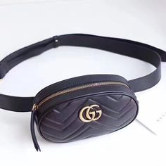 3289d838e16 Gucci GG Marmont Matelasse Leather Belt Bag Black 476434 Leather Belt Bag