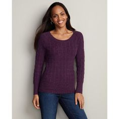 Amazon.com: Eddie Bauer Donegal Cable Crew Pullover Sweater: Clothing