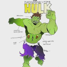 Diagnosing Superheros! Hulk SMASH! Why? Because he is suffering from a pheochromocytoma (one of my favorite words to say). This is a neuroendocrine tumor of the chromaffin cells of the adrenal medulla (which lives in the middle of the adrenal glad -...