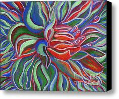 Abstract Flower Stretched Canvas Print / Canvas Art By Janice Dunbar