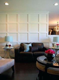 Reclaimed Wood Wall With Crown Molding Diy Square Panel Walls With Before And After And Tutorial Via Nancy Marcus Wood Wall Molding Wood Wall Molding Panels