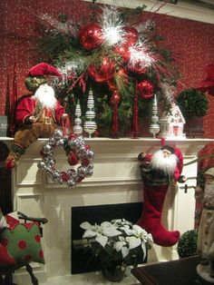 Erin, do you think I can do something spectacular like this with my 6' wreath?  Probably should've started before now. 35 Beautiful Christmas Mantels - Christmas Decorating -