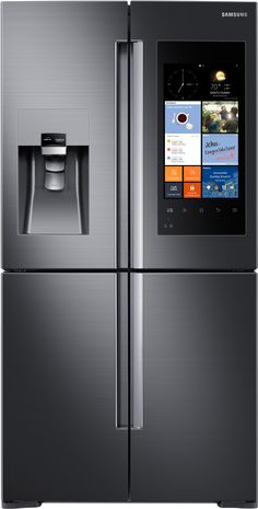 "Samsung Appliance 36"" Energy Star, Counter Depth French Door Refrigerator with 22.1 cu. ft. Capacity, 4 Doors, LCD Touchscreen Family Hub, Wifi Enabled, Water and Ice Dispenser: Black Stainless Steel RF22K9581SG at appliancesconnection.com This Samsung counter-depth French Door Refrigerator with 4 doors is an Energy Star unit that offers 22.1 cu. ft. of storage capacity and features a Family Hub with wifi enabled and LCD touchscreen. #samsung #trueinnovation #beyondperfection #counterdepth"