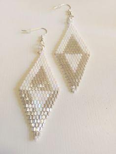 Diamond Shaped Earrings Silver White Earrings by JCLeecollection