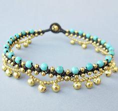 Turquoise Stone Beaded Ring Ring Ankle Bracelet